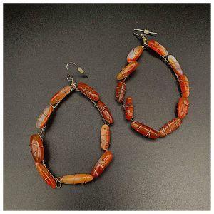 Bohemian Stone Amber Agate Chandelier Earrings